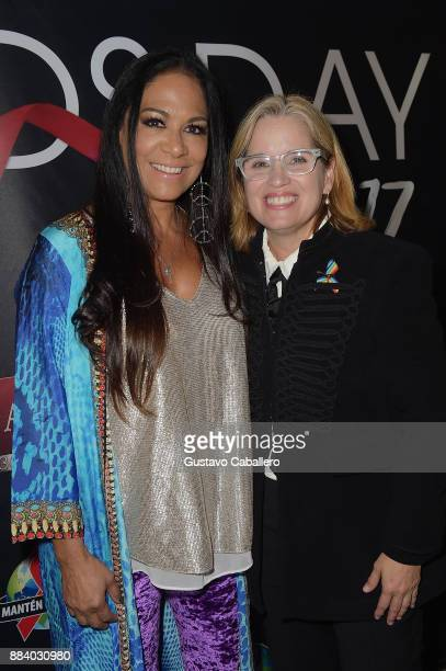 Sheila E and Carmen Yulin Cruz attend the AHF World AIDS Day Concert on December 1 2017 in Miami Florida