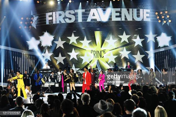 Sheila E and Miguel perform onstage with members of The Revolution during the 62nd Annual GRAMMY Awards Let's Go Crazy The GRAMMY Salute To Prince on...