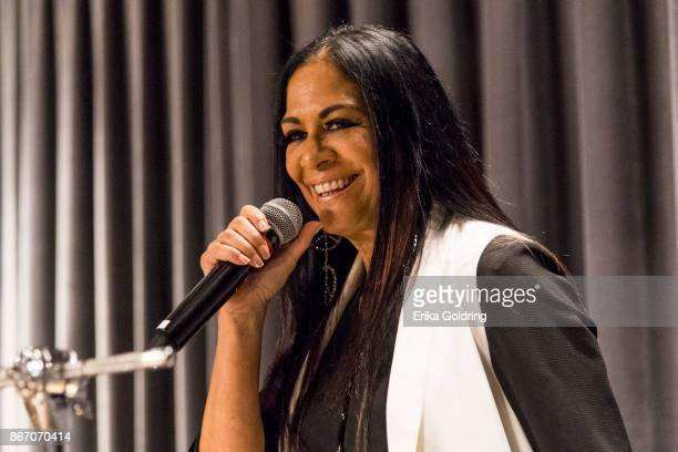 Sheila E performs with the New Orleans Jazz Orchestra at the New Orleans Jazz Market on October 26 2017 in New Orleans Louisiana