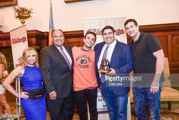 Sheila Hess Vince Giannini Troy Gentile and Doug Robinson pose with Producer Adam F Goldberg during an event honoring Goldberg at Philadelphia City...