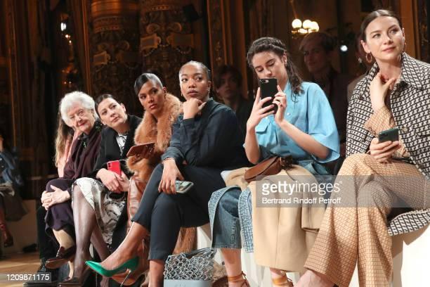 Sheila Hicks, Marie-Agnes Gillot, Tina Kunakey, Naomi Ackie, Shailene Woodley, Caitriona Balfe attend the Stella McCartney show as part of the Paris...
