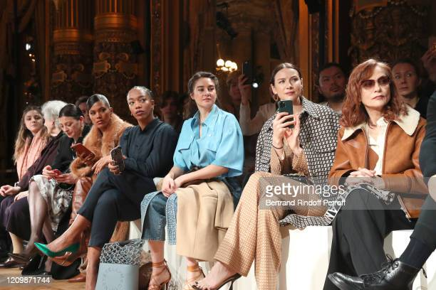 Sheila Hicks MarieAgnes Gillot Tina Kunakey Naomi Ackie Shailene Woodley Caitriona Balfe and Isabelle Huppert attend the Stella McCartney show as...