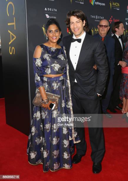 Sheila Jayadev and Don Hany pose during the 7th AACTA Awards at The Star on December 6 2017 in Sydney Australia