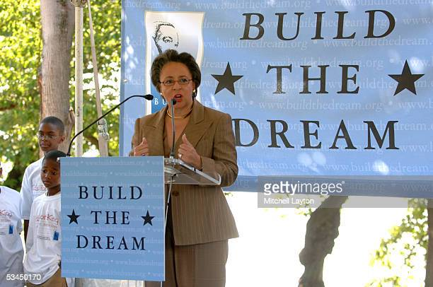 Sheila Johnson President of the Washington Mystics and representing the NBA speaks at the Martin Luther King Memorial Foundation's launching of the...