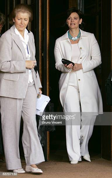 Sheila Martin the wife of Canadian Prime Minister Paul Martin and Cherie Blair wife of British Prime Minister Tony Blair are walk at the Gleneagles...