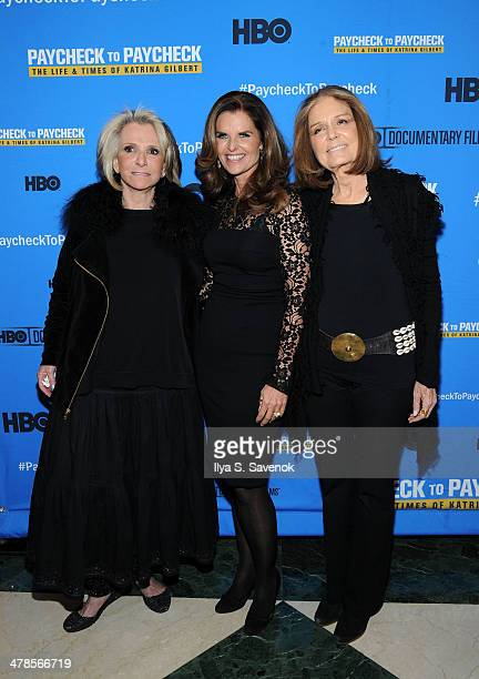 """Sheila Nevins, Maria Shriver and Gloria Steinem attend """"Paycheck To Paycheck: The Life And Times Of Katrina Gilbert"""" New York Premiere at HBO Theater..."""