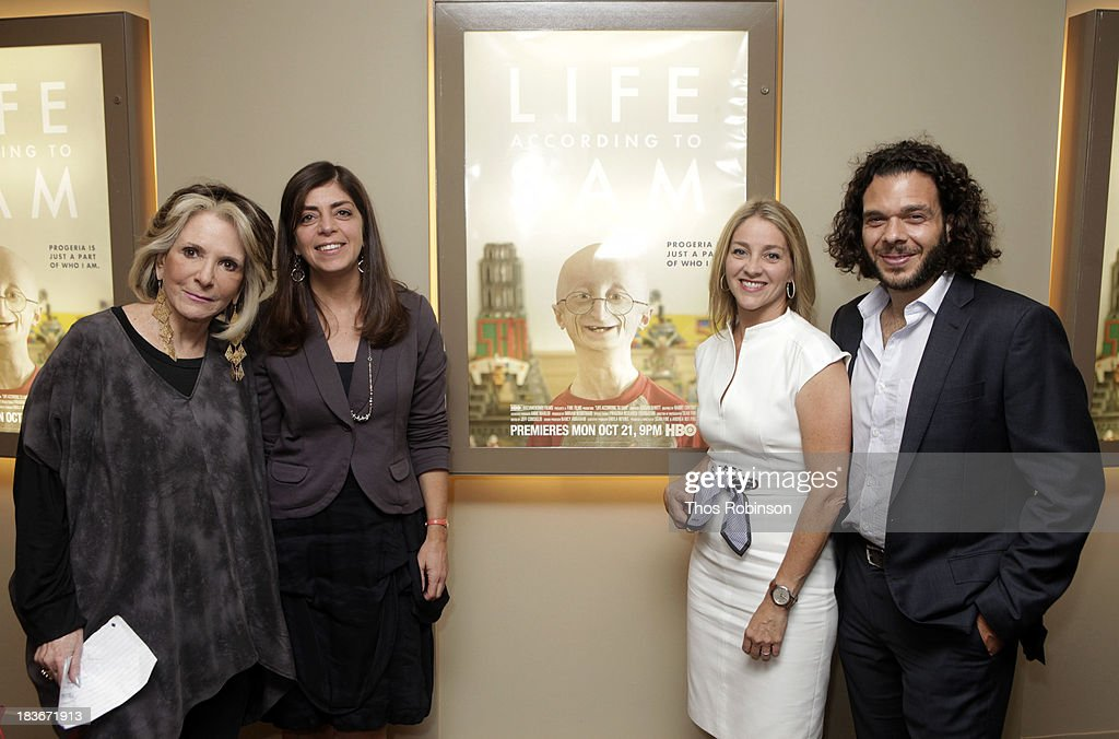 Sheila Nevins, president of HBO Documentary Films, Nancy Abraham, svp of HBO Documentary Films, filmmaker Andrea Nix Fine, and filmmaker Sean Fine attend The New York Premiere Of HBO's 'Life According To Sam' at HBO Theater on October 8, 2013 in New York City.