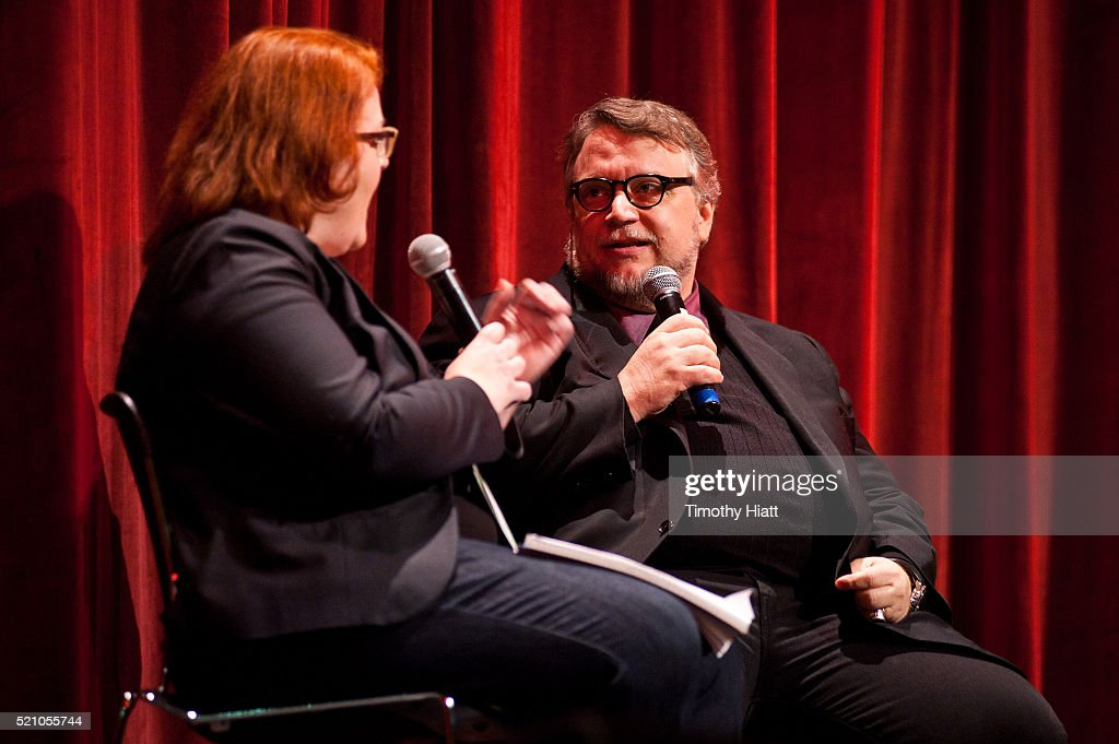 Sheila O'Malley and director Guillermo Del Toro conduct a Q&A session opening night for the 2016 Ebertfest on April 14, 2016 in Champaign, Illinois.