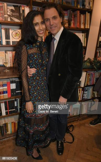 Sheila Raman and Alexander Newley attend the launch of new book 'Unaccompanied Minor' by Alexander Newley at Daunt Books on November 29 2017 in...