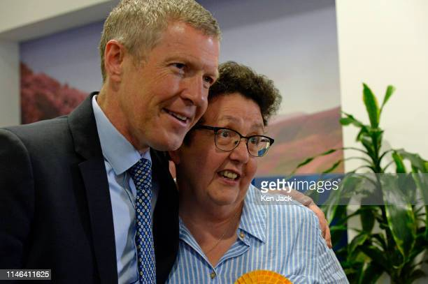 Sheila Ritchie the successful Scottish Liberal Democrat candidate in the European election poses for a photo with party leader Willie Rennie on May...