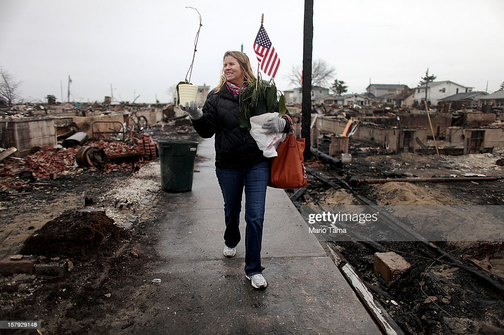 Sheila Scandole recovers plants and an American flag for her boyfriend in the hard hit Breezy Point neighborhood on December 7, 2012 in the Queens borough of New York City. Breezy Point, home to many New York City firefighters and police, lost 111 homes in a fast moving fire during Superstorm Sandy with many more homes severely damaged from flooding.