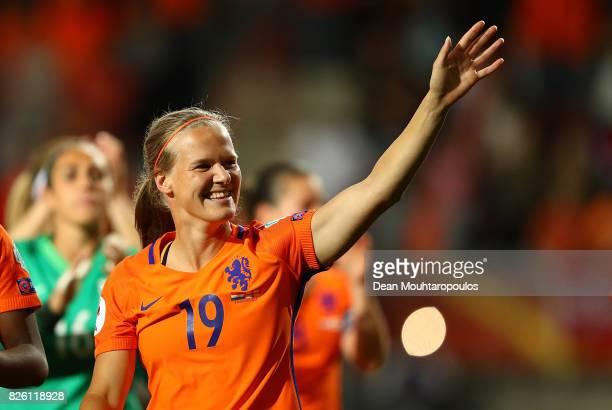 Sheila van den Bulk of The Netherlands celebrates following the UEFA Women's Euro 2017 Semi Final match between Netherlands and England at De Grolsch...