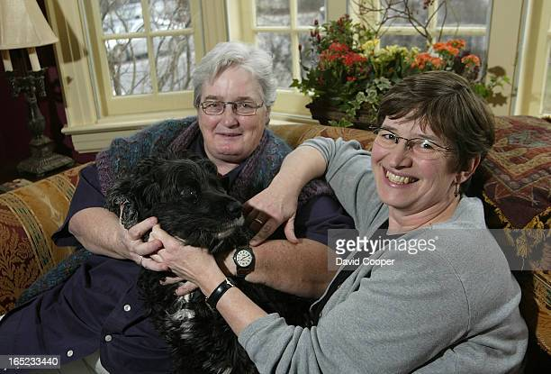Sheila Ward new chair of the Toronto District School Board and her partner Janice Barr with their dog Albert at home December 6 2003