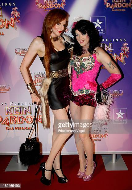 Sheila Wolf and Dana Regyonal pose during the World Premiere of the 'Kein Pardon' musical at the Capitol Theater on November 12, 2011 in Duesseldorf,...