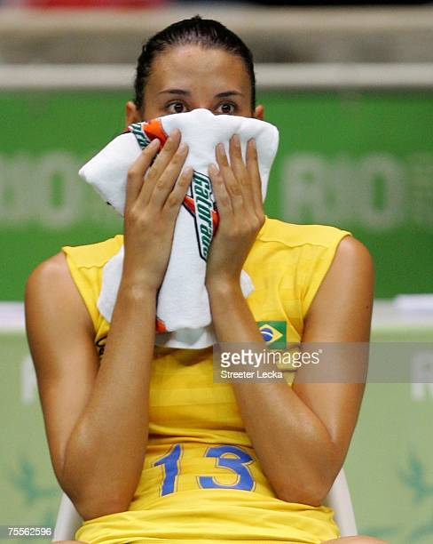 Sheilla Castro of Brazil reacts to loosing in the gold medal match to Cuba in the volleyball women's finals during the XV Pan American Games at...
