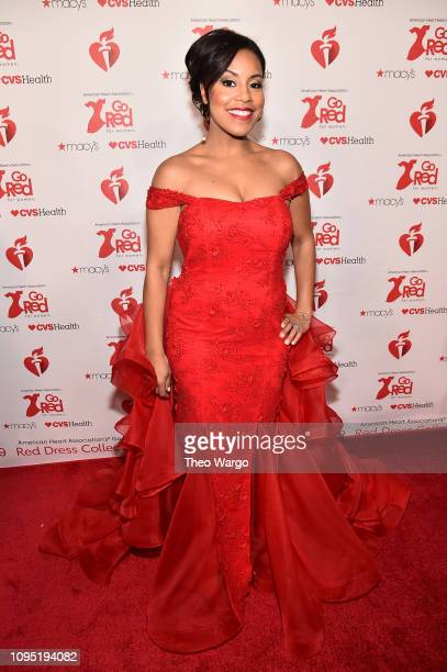 Sheinelle Jones attends The American Heart Association's Go Red For Women Red Dress Collection 2019 Presented By Macy's at Hammerstein Ballroom on...