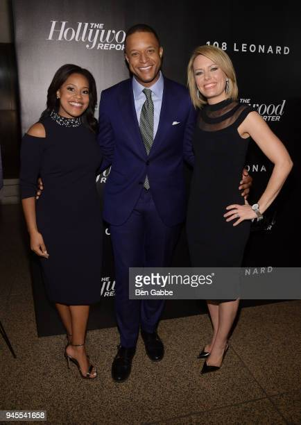 Sheinelle Jones Craig Melvin and Dylan Dreyer attend the Hollywood Reporter's Most Powerful People In Media 2018 at The Pool on April 12 2018 in New...