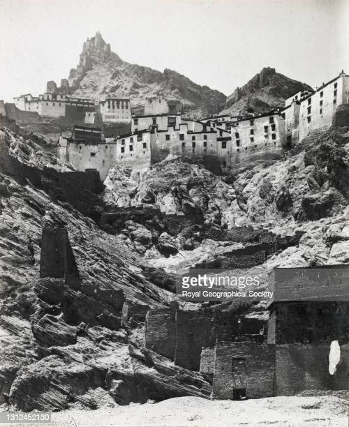Shekar Dzong, monastery from east. By J.B. Noel. Mount Everest Expedition 1922.