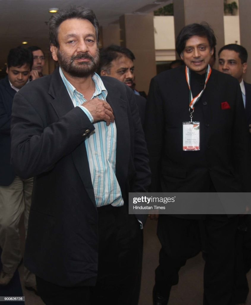 Shekhar Kapur and Shashi Tharoor having a word before their session at the Pravasi Bharatiya Divas-2008 at the Vigyan Bhawan on January 8, 2008 in New Delhi, India.