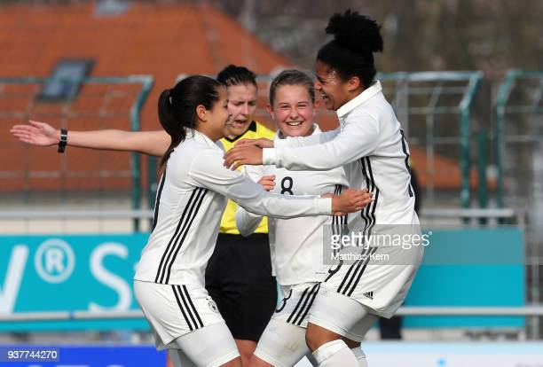 Shekiera Martinez of Germany jubilates with team mates after scoring the second goal during the UEFA U17 Girl's European Championship Qualifier match...