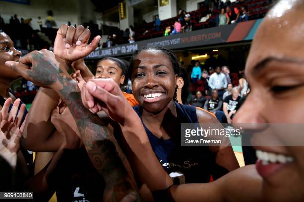 Shekinna Stricklen of the Connecticut Sun celebrates after hitting the game winning shot against the New York Liberty on June 7 2018 at Westchester...