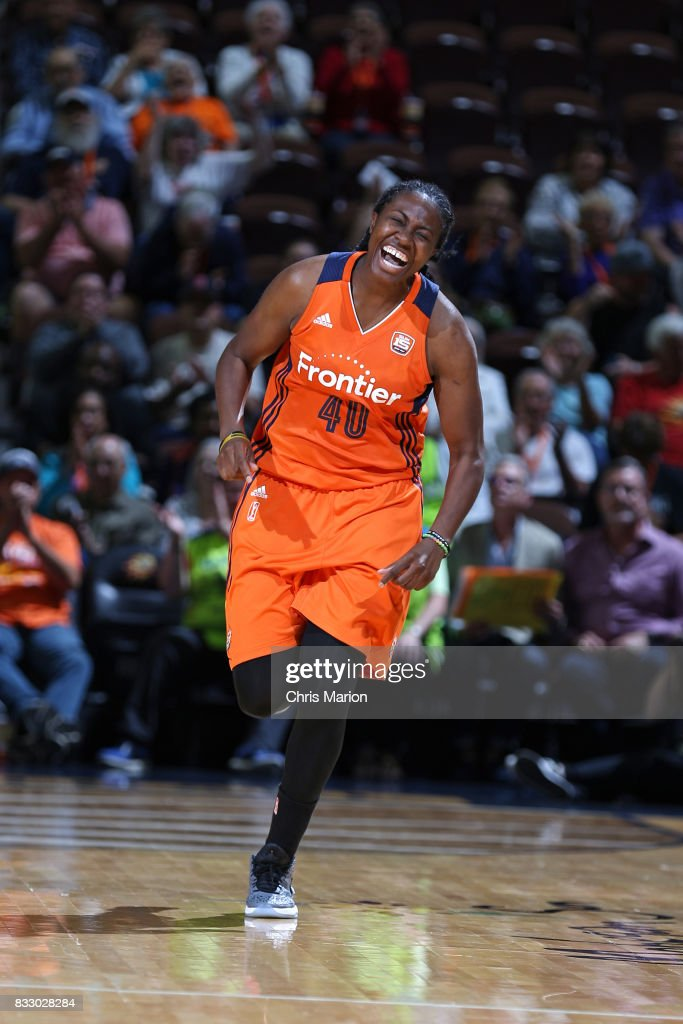 Shekinna Stricklen #40 of the Connecticut Sun reacts to a play against the Dallas Wings on August 12, 2017 at Mohegan Sun Arena in Uncasville, CT.