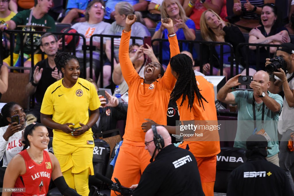 Shekinna Stricklen of the Connecticut Sun reacts to becoming