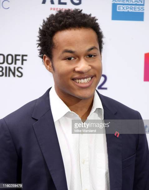 Sheku KannehMason attends the Nordoff Robbins O2 Silver Clef Awards 2019 at Grosvenor House on July 05 2019 in London England