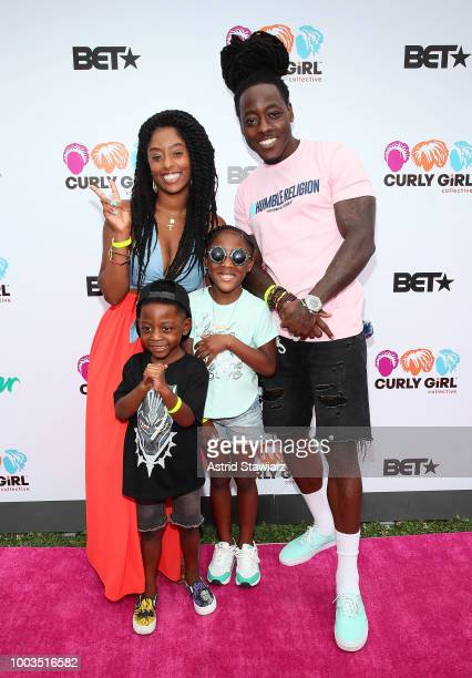 Shelah Marie Lyric Sailor and rapper Ace Hood attend Curlfest 2018 at Prospect Park on July 21 2018 in New York City