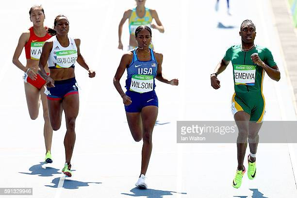 Shelayna OskanClarke of Great Britain Ajee Wilson of the United States and Caster Semenya of South Africa compete in the Women's 800m Round 1 heats...