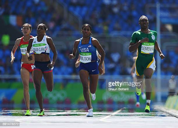 Shelayna OskanClarke of Great Britain Ajee Wilson of the United States and Caster Semenya of South Africa race for the finish line compete in the...