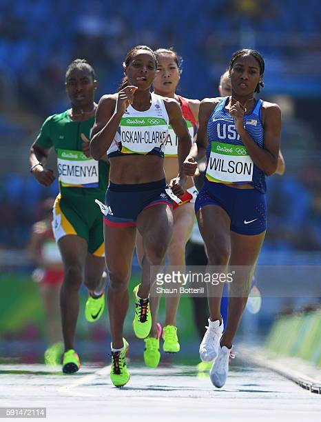 Shelayna OskanClarke of Great Britain and Ajee Wilson of the United States compete in the Women's 800 metres heats on Day 12 of the Rio 2016 Olympic...