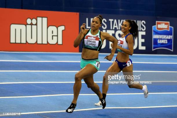 Shelayna OskanClarke of Great Britain in the Women's 800m during the Muller Indoor Grand Prix IAAF World Indoor Tour event at Arena Birmingham on...
