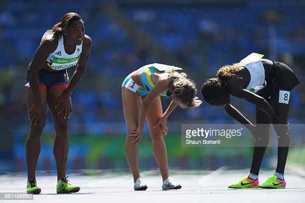 Shelayna Oskan-Clarke of Great Britain, Margarita Mukasheva of Kazakhstan and Rose Nathike Lokonyen of Refugee Olympic Team react during the Women's...