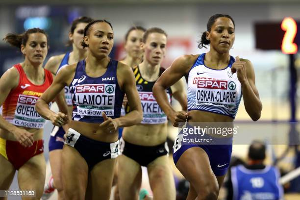 Shelayne OskanClarke of Great Britain in action during the final of the women's 800m on day three of the 2019 European Athletics Indoor Championships...