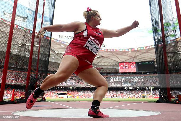 Shelbi Vaughan of the United States competes in the Women's Discus qualification during day three of the 15th IAAF World Athletics Championships...