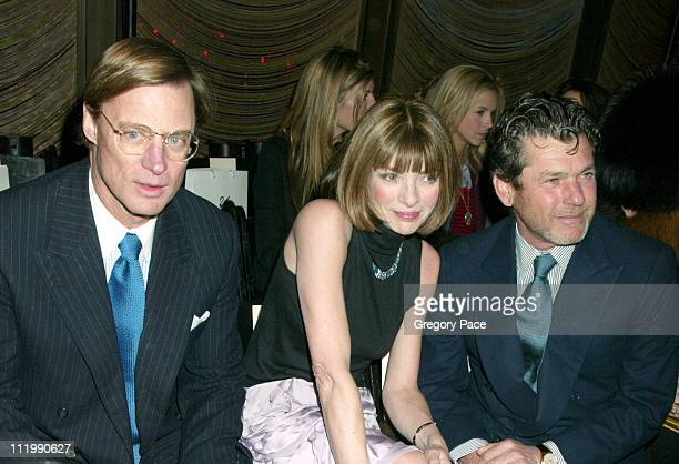 Shelby Bryan Anna Wintour and Jann Wenner during Zac Posen Fall 2003 Fashion Show at The Four Seasons Restaurant in New York NY United States