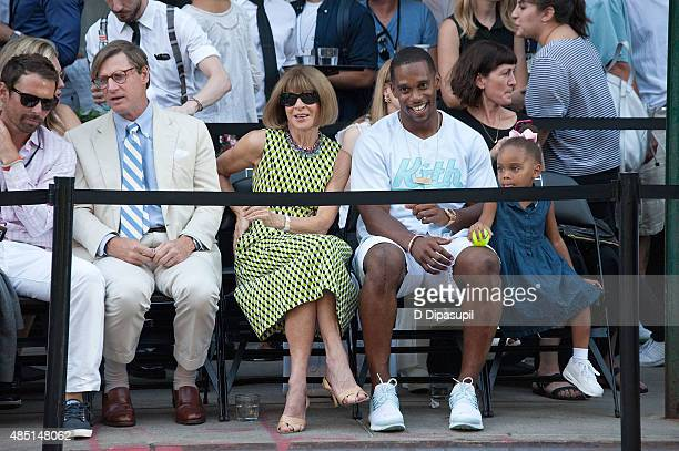 Shelby Bryan Anna Wintour and Victor Cruz attend Nike's NYC Street Tennis event on August 24 2015 in New York City
