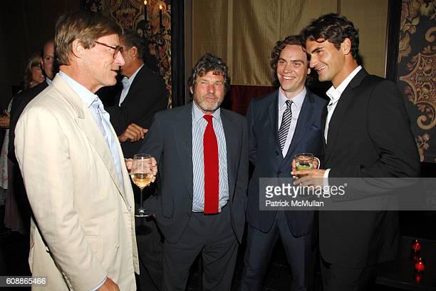 Shelby Bryan Jann Wenner Jay Fielden and Roger Federer attend Men's Vogue Dinner in Honor of Roger Federer at Wakiya on August 23 2007 in New York...