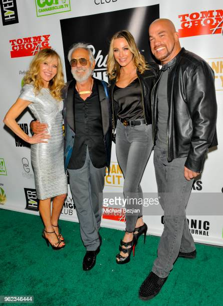 Shelby Chong Tommy Chong Amber Miller and Tito Ortiz arrive at Tommy's 80th Birthday party on May 24 2018 in Los Angeles California