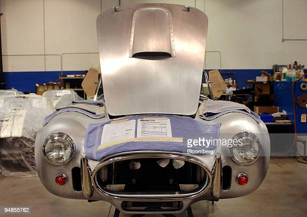 Shelby Cobra waits to be painted at the Shelby Automobiles Inc. Factory in Las Vegas, Nevada, U.S., on Wednesday, April 2, 2008. The Shelby Mustang...