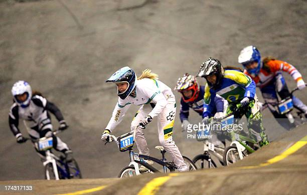 Shelby Green of Australia leads the final field during day one of the UCI BMX World Championships at Vector Arena on July 24 2013 in Auckland New...