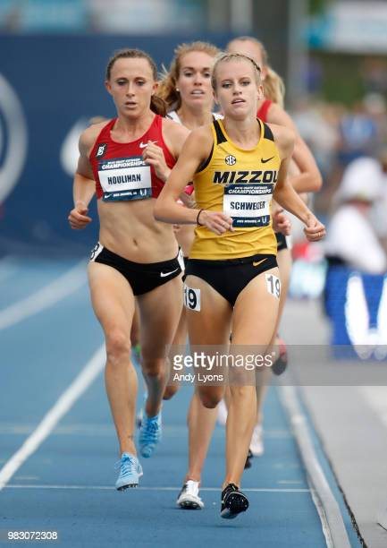 Shelby Houlihan and Karissa Schweizer runs together on the last lap in the Womens 5,000 Meter Final during day 4 of the 2018 USATF Outdoor...