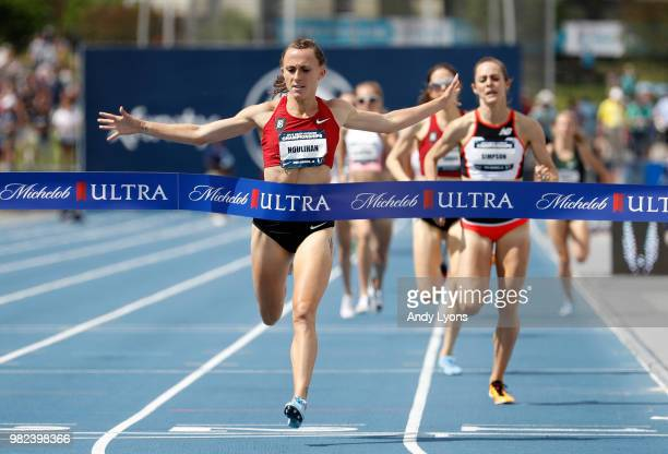 Shelby Houlihan celebrates as she wins the Womens 1500 Meter Final during day 3 of the 2018 USATF Outdoor Championships at Drake Stadium on June 23,...