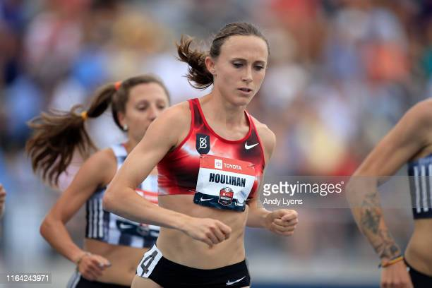 Shelby Houlihan competes in the opening round of the 1500 meter during the USATF Outdoor Championships at Drake Stadium on July 25, 2019 in Des...