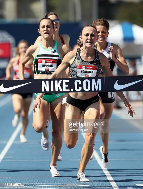 Shelby Houlihan crosses the finish line first to win the Women's 1500 Meter Final during the 2019 USATF Outdoor Championships at Drake Stadium on...