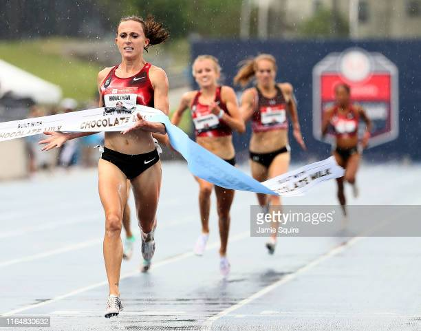 Shelby Houlihan crosses the finish line to win the Women's 5000 Meter Final during the 2019 USATF Outdoor Championships at Drake Stadium on July 27,...