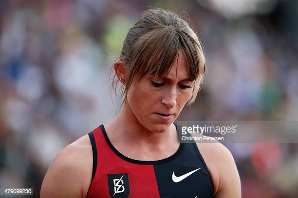 Shelby Houlihan following the Women's 1500 Meter Run during day four of the 2015 USA Outdoor Track & Field Championships at Hayward Field on June 28,...