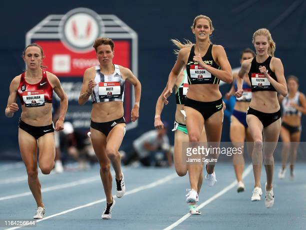 Shelby Houlihan, Nikki Hiltz and Karisa Nelson compete in the Women's 1500 Meter Run heat during the 2019 USATF Outdoor Championships at Drake...