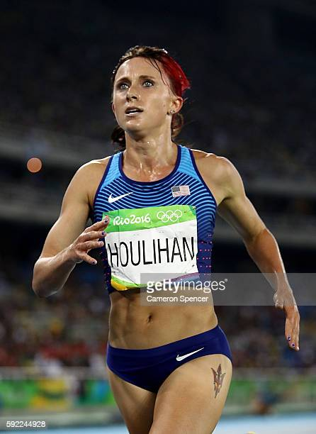 Shelby Houlihan of the United States competes in the Women's 5000m Final on Day 14 of the Rio 2016 Olympic Games at the Olympic Stadium on August 19,...